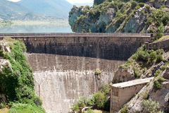 Dam on River Gallego, province Aragon, Spain.Reservoir Rena Stock Photo