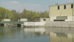 Dam on a river in germany stock video footage
