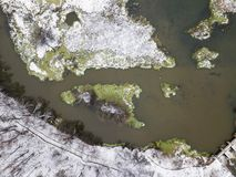 Dam on the river Klyazma landscape. First snow. Aerial view Stock Photography
