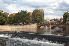 Dam on the River Pegnitz in the old part of Nuremberg. Germany. Royalty Free Stock Photos