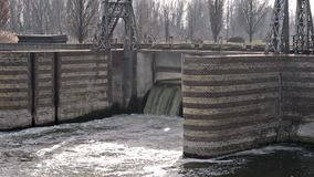 Dam on The river. Dam on the Tisa river in The Becej stock footage