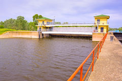 Dam. River dam which closed the great river, photography Stock Image