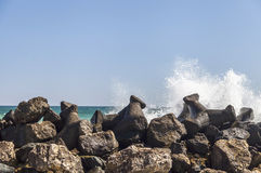Dam on the romanian Black Sea coast Royalty Free Stock Photos