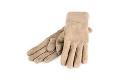 Dam rzemienne rękawiczki odizolowywać na bielu Obraz Royalty Free