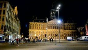 Dam square, Amsterdam, Netherlands, night traffic,. AMSTERDAM - SEP 12: night traffic on Dam square on September 12, 2013 in Amsterdam, Netherlands. Dam Square stock video