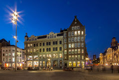 Dam Square in Amsterdam at the Night Royalty Free Stock Photos