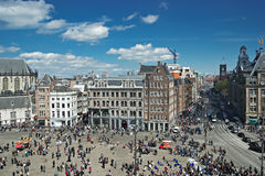 Dam Square in Amsterdam  top view Stock Images