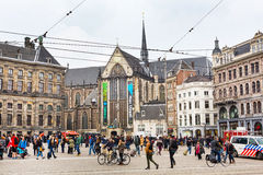 Dam square, historical center of the city in Amsterdam, Holland Stock Photography