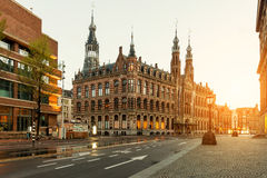 Dam square in morning at Amsterdam, Netherlands Royalty Free Stock Photos