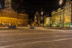 Dam square  next to the Royal Palace, Amsterdam, Netherlands Stock Photos
