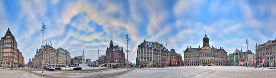 Dam square 360 panorama Royalty Free Stock Image