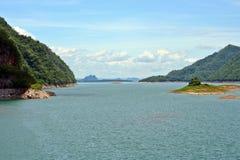 On dam srinakarin in thailand. On dam srinakarin in kanchanaburi, thailand Stock Photo
