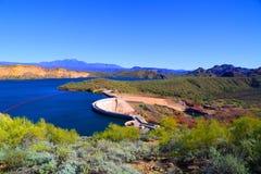 Dam. Stewart Mountain Dam located at Saguaro Lake in Arizona desert Stock Images