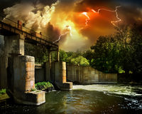 Dam and storm Stock Photo
