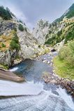 Dam and stream of Vall de Nuria Royalty Free Stock Photography