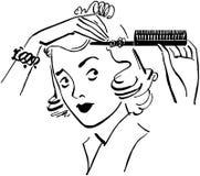 Dam Styling Hair Arkivfoto