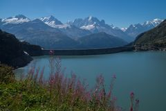 Dam in the Swiss Alps in Valais. Barrage d `emosson in valais in swiss royalty free stock photography
