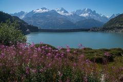 Dam in the Swiss Alps in Valais. Barrage d `emosson in valais in swiss stock photos