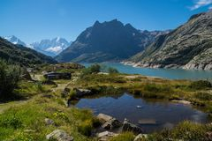 Dam in the Swiss Alps in Valais. Barrage d `emosson in valais,swiss stock image