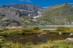 Dam in the Swiss Alps in Valais. Barrage d `emosson in valais,swiss royalty free stock images
