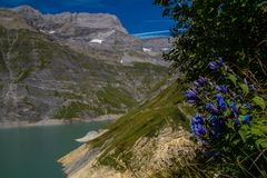 Dam in the Swiss Alps in Valais. Barrage d `emosson in valais,swiss royalty free stock image
