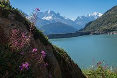 Dam in the Swiss Alps in Valais. Dame of emosson in valais,swiss royalty free stock photo