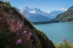 Dam in the Swiss Alps in Valais. Dam of emosson in valais,swiss stock photos