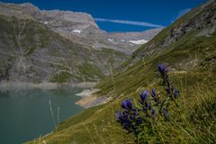 Dam in the Swiss Alps in Valais. Dam of emosson in valais,swiss royalty free stock photography