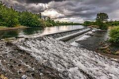 Dam of the Tera River on its way through Camarzana de Tera in Zamora Spain stock photo