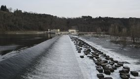 Dam on the Ticino River, Lombardy - Italy stock video