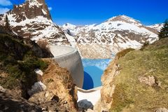 Dam yet to be filled with melting snow Royalty Free Stock Image