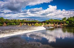 Dam and train bridge over the Delaware River in Easton, Pennsylv Royalty Free Stock Image