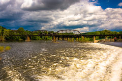 Dam and train bridge over the Delaware River in Easton, Pennsylv Stock Photo
