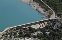 Dam on Tramuntana Unesco world heritege water reservoir. Dam in a water pond in the north of the island of Majorca, Spain. The area called tramuntana mountains stock images