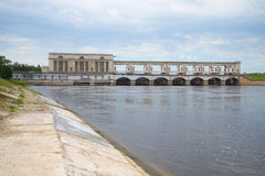 Dam of the Uglich hydropower plant on a July day. Uglich, Russia Stock Photo