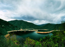 Dam Vacha in Rhodopi mountain, Bulgaria. View of Dam Vacha in Rhodopi mountain, Bulgaria Royalty Free Stock Images