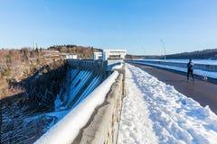 Dam van het Meer Eupen dichtbij Eupen, België Stock Foto