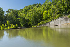 Dam Versailles Lake. A dam holding back a lake Royalty Free Stock Images
