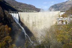 The dam of Verzasca on the italian part of Swtzerland Royalty Free Stock Photography