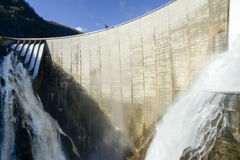 The dam of Verzasca on the italian part of Swtzerland Stock Images