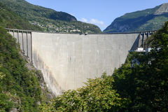 The dam of Verzasca on the Swiss alps Stock Photography