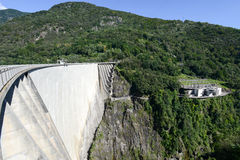 The dam of Verzasca on the Swiss alps Royalty Free Stock Images