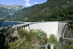 The dam of Verzasca on the Swiss alps Stock Photos