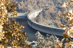 Dam wall in autumn. Dam wall crown in autumn Stock Photography