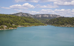 Dam wall in Bimont park, Provence Royalty Free Stock Images