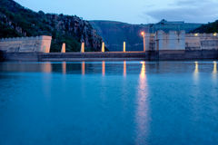 Dam wall in evening light Royalty Free Stock Photography