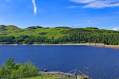 The Dam wall at Haweswater Reservoir 3, Cumbria, England. stock photos
