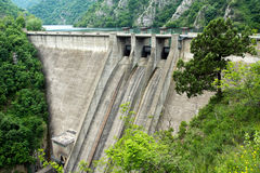 Dam wall. Hydroelectric equipment concrete dam wall Royalty Free Stock Image