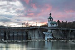 Historic dam wall. Dam wall of hydroelectric power plant Hochablass, river Lech, Augsburg, Germany Royalty Free Stock Photos