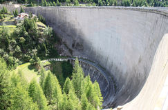 Dam wall, Lago di Beauregard, Val Grisenche, Italy Royalty Free Stock Photos